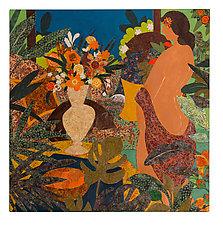 Woman at Her Window by Lynne Feldman (Mixed-Media Painting)