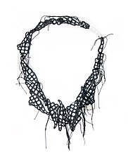 Black Thread Crystals Necklace by Tamar Navama (Mixed-Media Necklace)