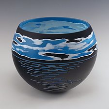 Horizon Bowl No.13 by Nick Leonoff (Art Glass Vessel)