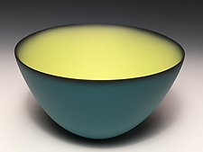 Smooth Bowl with Teal Exterior by Thomas Marrinson (Ceramic Bowl)