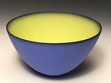 Smooth Bowl with Cobalt Exterior by Thomas Marrinson (Ceramic Bowl)