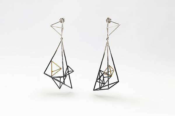 Asymmetric Large Triangular Structure Earrings