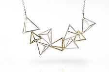 Triangular Pyramids Necklace by Zhenwei  Chu (Gold & Silver Necklace)