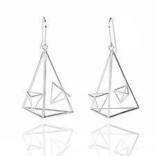 Asymmetric Triangle Dangle Earrings by Zhenwei  Chu (Silver Earrings)
