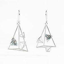 Asymmetric Triangle Dangle Earrings with Resin by Zhenwei  Chu (Silver & Resin Earrings)