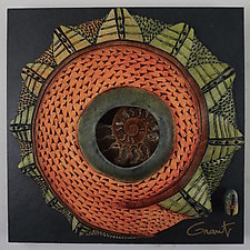 Windows to the Earth - Spiral Leaf Pattern with Ammonite Center by Vicki Grant (Ceramic Wall Sculpture)
