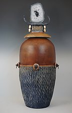 Tall Blue Vessel With Brazilian Agate by Vicki Grant (Ceramic Vessel)
