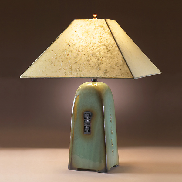 North Union Lamp in Celadon Glaze with Natural Lokta Shade
