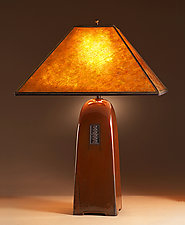 North Union Lamp in Russet Glaze with Mica Shade by Jim Webb (Ceramic Lamp)