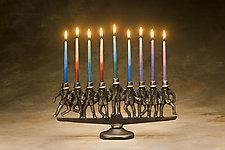 Dancing Rabbi Menorah by Scott Nelles (Metal Candleholders)