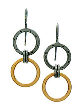 Black and Gold Two-Ring Earrings by Jodi Brownstein (Gold & Silver Earrings)