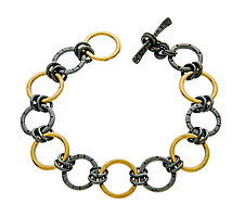 Black and Gold Stamped Chain Bracelet by Jodi Brownstein (Gold & Silver Bracelet)