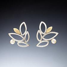 Lace Leaf Earrings by Susan Kinzig (Gold, Silver & Pearl Earrings)