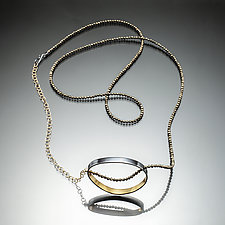 Gold Inside Oval Necklace by Susan Kinzig (Gold, Silver & Stone Necklace)