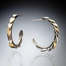 Leaf Hoop Earrings by Susan Kinzig (Gold & Silver Earrings)