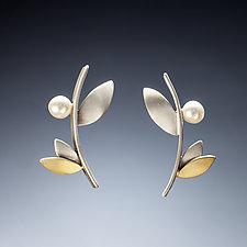 Branch Stud Earrings by Susan Kinzig (Gold, Silver & Pearl Earrings)