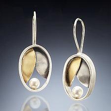 Oval Leaf Earrings by Susan Kinzig (Gold, Silver & Pearl Earrings)