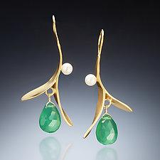 Green Onyx Branch Earrings by Susan Kinzig (Gold, Pearl & Stone Earrings)