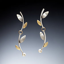 Long Branch Earrings by Susan Kinzig (Gold & Silver Earrings)