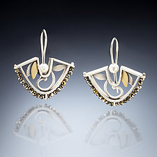 Fan Earrings by Susan Kinzig (Gold, Silver & Pearl Earrings)
