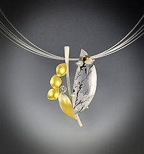 Sapphire Branches Necklace by Judith Neugebauer (Gold, Silver & Stone Necklace)