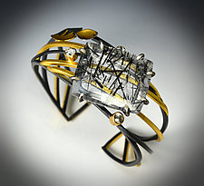 Winter Ice Cuff by Judith Neugebauer (Gold, Silver & Stone Bracelet)