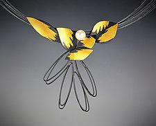 In Flight Necklace by Judith Neugebauer (Gold, Silver & Pearl Necklace)