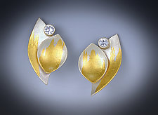 Sapphire Leaf Earrings by Judith Neugebauer (Gold, Silver & Stone Earrings)