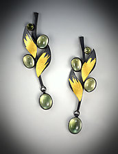 Prenite Leaf Earrings by Judith Neugebauer (Gold, Silver & Stone Earrings)