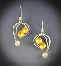Josephine Earrings by Judith Neugebauer (Gold, Silver & Pearl Earrings)