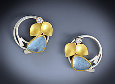 Aqua Lilac Earrings by Judith Neugebauer (Gold, Silver & Stone Earrings)