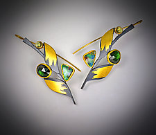 Verdant Branch Earrings by Judith Neugebauer (Gold, Silver & Stone Earrings)
