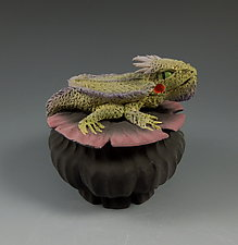 Miniature Horny Toad Box by Nancy Y. Adams (Ceramic Sculpture)