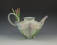 Dragonfly Tea II by Nancy Y. Adams (Ceramic Teapot)