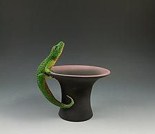 Lizard on Tophat Bowl by Nancy Y. Adams (Ceramic Vessel)