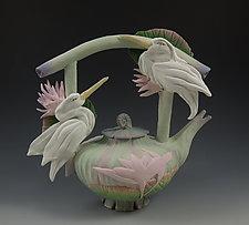 Two Heron Teapot by Nancy Y. Adams (Ceramic Teapot)