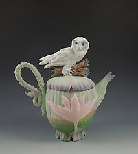 Owl Lotus Teapot by Nancy Y. Adams (Ceramic Teapot)