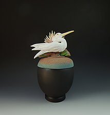 White Egret Urn by Nancy Y. Adams (Ceramic Vessel)