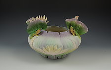 Two Frog Lotus Bowl by Nancy Y. Adams (Ceramic Vessel)