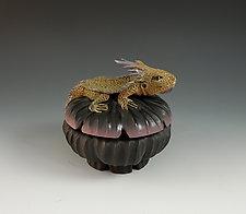 Miniature Horny Toad Box by Nancy Y. Adams (Ceramic Sculpture)