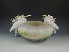 Two Heron Waterlily Vessel by Nancy Y. Adams (Ceramic Vessel)