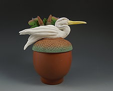 Heron on Brown Acorn Box by Nancy Y. Adams (Ceramic Box)
