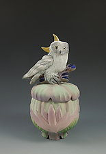 Owl Lotus Box by Nancy Y. Adams (Ceramic Sculpture)
