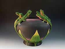 Seven Lizard Vessel by Nancy Y. Adams (Ceramic Vessel)