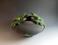 Seven Lizard Bowl III by Nancy Y. Adams (Ceramic Bowl)