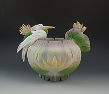 Jade Heron Vessel II by Nancy Y. Adams (Ceramic Vessel)
