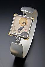 Crane Silhouette Cuff Bracelet by Ananda Khalsa (Silver Bracelet)