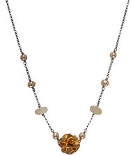 Quartz & Pearl Gold Flora Necklace by Chihiro Makio (Gold, Silver & Stone Necklace)