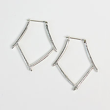 Bamboo Hoop by Dahlia Kanner (Silver Earrings)