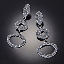Bumpy Long Three-Tier Earrings by Dahlia Kanner (Silver Earrings)